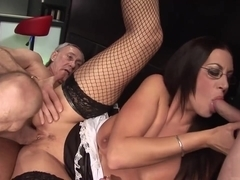 Emma sucking some seniors off