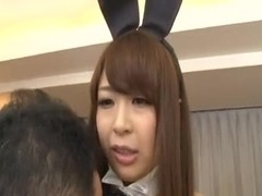 Japanese gal clothed as a sex bunny