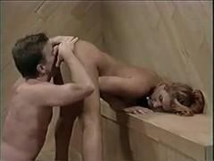 Busty blonde hottie slammed in the sauna