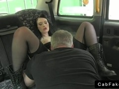 Dark hair amateur blowjob in fake taxi