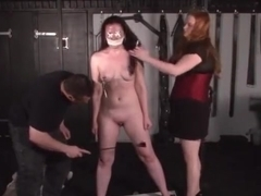 Cruel nipple torments and lesbian bdsm of slave Caroline Pierce in whipping