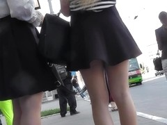Amazing upskirt clip with amateur blonde in thong