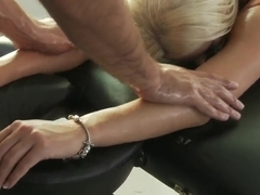 Wonderful blonde takes a cock in her mouth after the massage