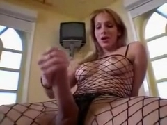 My classy shemale friend in fishnet bodystocking loves jerking off