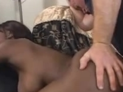 Big tittied black slut having fun with white cock