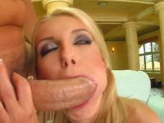 Oh my gosh! This super skinny blonde gets a big cock straight to her tiny asshole.