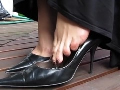 Black Bagatt High Heels dangling