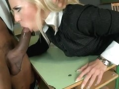 Black student gets wonderful blowjob and footfob from Carla Cox