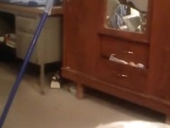Lol !!! girl watches porn, while she rides a broomstick !!!