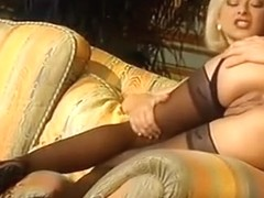 Rich blonde blow the guy after cumming