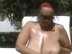 German Big Beautiful Woman-granny with biggest-billibongs outdoors