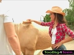 Country girl Gabriella Ford fucked by big cock in stable