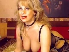 Mature Blond Milf Teases on Webcam Lingerie