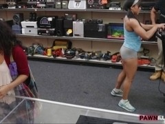 Muscular chick was convinced to get fucked in the pawnshop