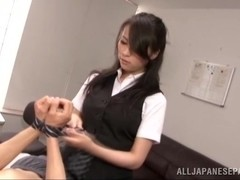 Asian office mild is a dominating tramp at work