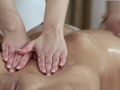 Sexy blonde gets lesbian pussy massage