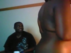 Ebony couple has cowgirl, doggystyle and missionary sex.
