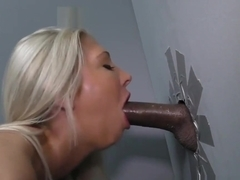 Babe gives gloryhole suck