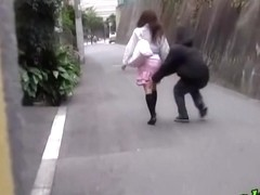 Asian babe with no panties on got a skirt sharking.