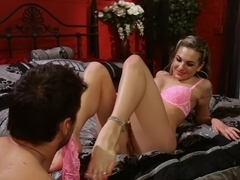Crazy blonde, fetish xxx video with horny pornstars Dahlia Sky and Ramon Nomar from Footworship