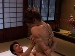 Japanese hottie gets tied and screwed properly