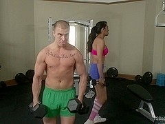 TS Jessica Fox and Bella Rossi Fuck the daylights out of a Cocky Gym Rat