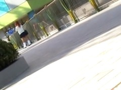 Unsuspecting Asian girl viciously skirt sharked in public.