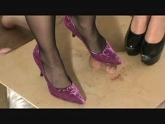 Evey and Mia strapon and balls underneath high heels