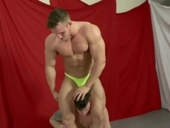 Hot battle! Two handsome guys in two hot posing trunks! Young bodybuilders!