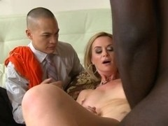 Oriental hubby watches her wife with BBC