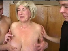 Large tit mommy bonks three youthful studs