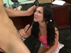 Legal Age Teenager gives brunette hair CFNM oral stimulation to teacher