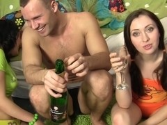 Mandie & Polli & Selena & Silvia in group sex video with really hot college chicks