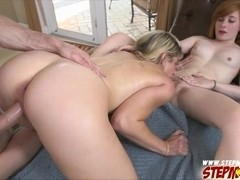 Hot and  sexy stepmom demonstrates how to give a blowjob and gets fucked
