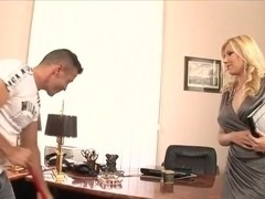 Big titted broad loves fucking in the office