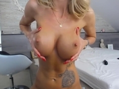Lonely girl playing with her tits