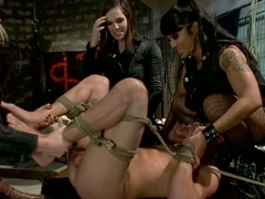 A guy gets his ass fucked by three girls