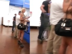 Tattooed Blonde Stripper flashing at Walmart