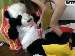 Skinny brunette Sabina rides on her huge puppet