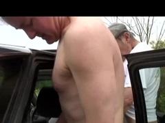 Dudes group-sex hawt hotties in parked car