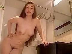 Girl talks to adult webcam guys in bathroom