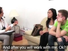 FemaleAgent Hot Asian pleasures MILF then fucks