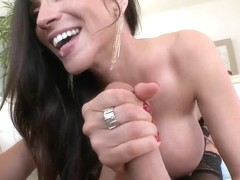 A brunette cougar sucks cock in P.O.V. here