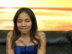 Latina named Sasha sucks mean white cock