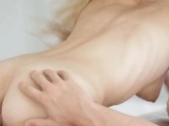 Petite blonde in black lingerie jumps on top of that big dick and rides it