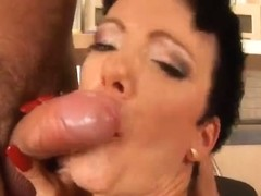 Short haired older fucking hard in the kitchen