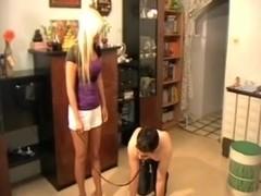 Australian mistress teaching her submissive slave