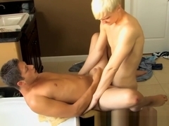Blond twink sucks dick in bathroom before fucking ass