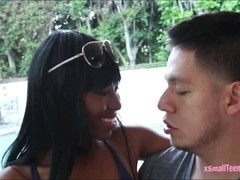 Black ebony Ashton Devine receives cum facial by big shaft