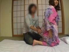 Naughty AV model in kimono gets pussy pounding